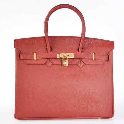 H35POSG Hermes Birkin 35CM clemence leather in Purplish red with Gold hardware