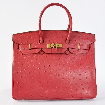 H35POSG Hermes Birkin 35CM Ostrich stripes leather in Flame with Gold hardware