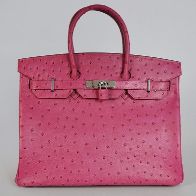 H35POSS Hermes Birkin 35CM Peach Ostrich stripes leather(Silver)