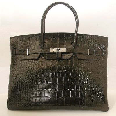 H40CSBS Hermes Birkin 40CM Crocodile stripes leather in Black with Silver hardware