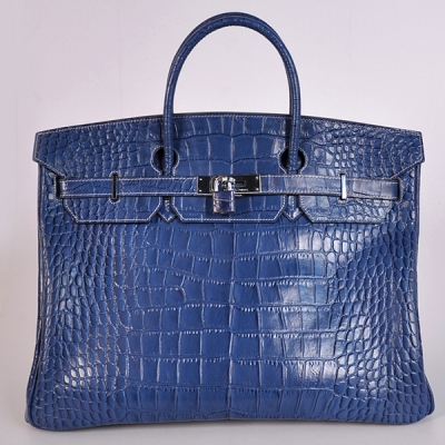 H40CSBS Hermes Birkin 40CM Crocodile stripes leather in Blue with Silver hardware