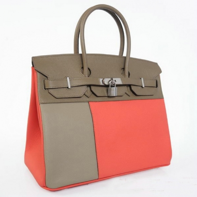 H6089 Hermes Birkin 35CM Light Red&Grey Clafskin Leather Tote Bag Silver