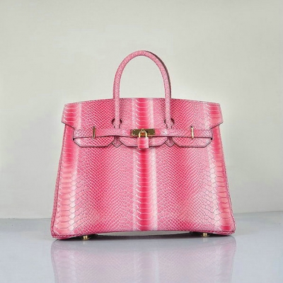 H6089 Hermes Birkin 35CM Peach Snake Leather Tote Bag Gold