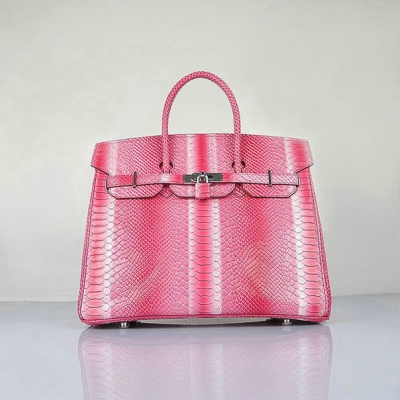 H6089 Hermes Birkin 35CM Peach Snake Leather Tote Bag Silver