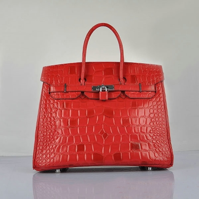 H6089 Hermes Birkin 35CM Tote Bag Croco Leather H6089 Red