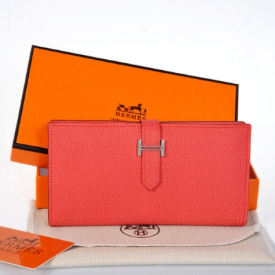 Hermes 2 flod original leather wallet in Watermelon Red