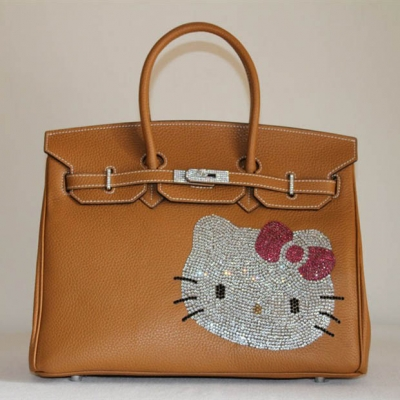 HK0001 Hermes Birkin Hello Kitty 35CM Togo Leather Bag Light Coffee HK0001