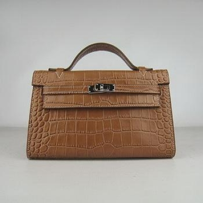 HKL22LCCS006 Hermes Kelly 22CM Light Coffee Crocodile Stripe