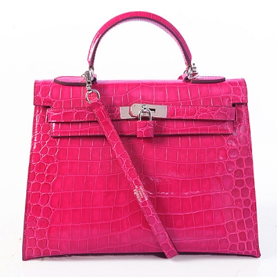 K32 Hermes kelly 32CM Crocodile leather in Light Peach with Silver hardware