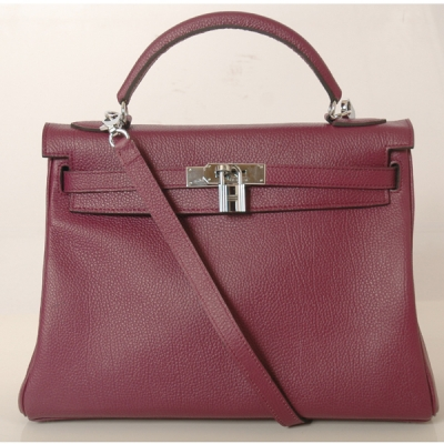 K32BJPS Hermes Kelly togo leather 32CM togo in Purple with Silver hardware