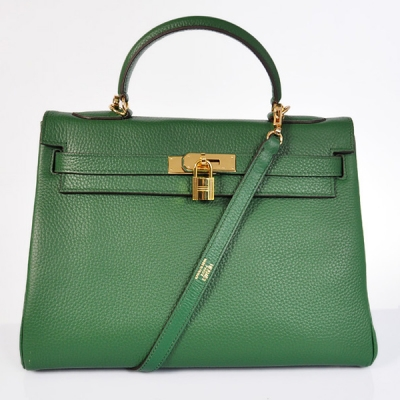 K32LSDGG Hermes Kelly 32CM clemence leather in Dark Green with Gold hardware
