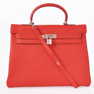 K35CFS Hermes kelly 35CM clemence leather in Flamen with Silver hardware