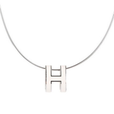 Hermes 10k White Gold Pop H Necklace with White Enamel